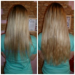 Сделано загущение волос, то есть наращивание по своей длине. За счет загущения кончики стали более плотные, объем волос увеличился.