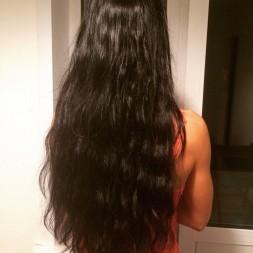 Наращивание неокрашеного черного волоса, дабл дрон - очень плотные концы